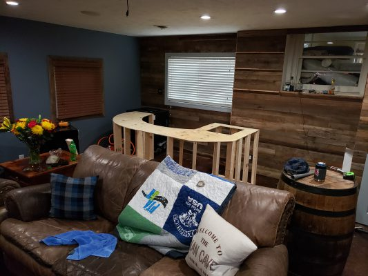 Man Cave Back Wall with Bar